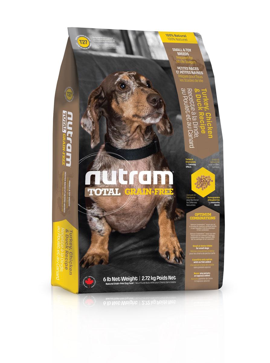 Без зерновой сухой корм для собак мелких пород из мяса индейки курицы и утки T27 Nutram GF SB TurkeyChicken&Duck Dog Food 2.72 кг -