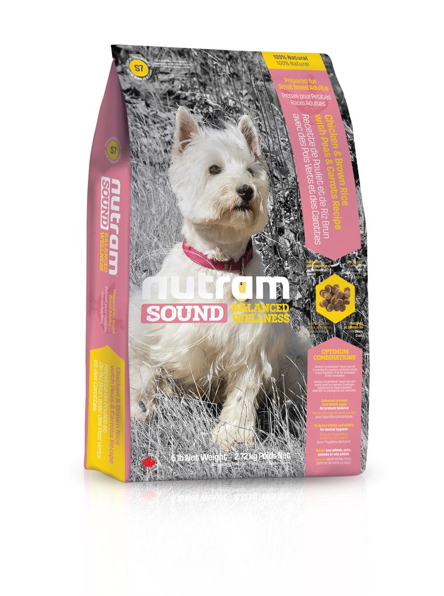 Корм сухой Nutram Sound Balanced Wellness S7, для взрослых собак мелких пород, с перловкой, горохом и тыквой, 2,72 кг0120710Сухой корм Nutram Sound Balanced Wellness S7 - натуральный сбалансированный корм для взрослых собак мелких пород. Целостный (holistic), полезный, богатый питательными веществами сухой корм для собак, который улучшает самочувствие и здоровье питомцев по принципу изнутри наружу. Рецептура корма соответствует возрастным нормам питания для собак, установленным ассоциацией AAFCO. Корм содержит:- Мясо курицы, коричневый рис, горох и морковь: (мясо курицы без костей и цельные яйца обеспечивают баланс белков в организме).- Гранулы корма, приготовленные по принципу Al Dente, поддерживает здоровье зубов и десен. Люцерна освежает дыхание.Не содержит пшеницу, кукурузу, картофель или сою в любом виде.