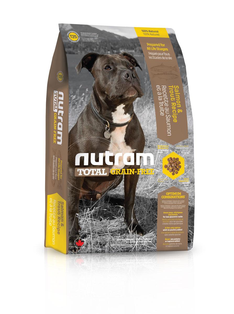 Без зерновой сухой корм для собак из мяса лосося и форели T25 Nutram GF Salmon & Trout Dog Food 13.6 кг -83493Беззерновой Нутрам (NUTRAM GRAIN FREE) отличается от многих других беззерновых кормов, представленных на рынке! В его составе:- Нет картофеля- Углеводы с низким гликемическим индексом (ГИ), полученные из бобовых (турецкий горох и зеленый горошек)- Органические пребиотики ( морские водоросли и инулин агавы)- Мощные супер-продукты, такие как лебеда, семена чии , свежие ягоды, гранати капуста- Свыше 90% свежих фруктов и овощей канадского производства