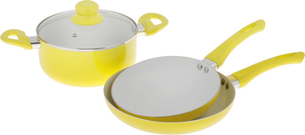 Набор посуды Calve, с керамическим покрытием, цвет: желтый, 4 предмета391602Набор посуды Calve состоит из 2 сковородок и кастрюли со стеклянной крышкой. Предметы набора выполнены из высококачественного алюминия с внутренним керамическим покрытием. Такое покрытие предотвращает прилипание пищи к стенкам. Посуда равномерно нагревается. Изделия оснащены удобными ручками из бакелита, они не нагреваются в процессе готовки и обеспечивают надежный хват. Крышка изготовлена из жаростойкого стекла и снабжена ручкой, металлическим ободом, и отверстием для выпуска пара.Такой набор не только станет незаменимым помощником в приготовлении ваших любимых блюд, но и стильно оформит интерьер кухни. Подходит для всех типов плит, кроме индукционных. Можно мыть в посудомоечной машине.Диаметр кастрюли: 20 см.Высота стенок кастрюли:9 см.Объем кастрюли: 2,8 л.Ширина кастрюли (с учетом ручек): 34,5 см.Диаметр сковород: 20 см; 24 см.Высота стенок сковород: 4,2 см; 4,5 см.Длина ручек: 16,5 см.Толщина стенок: 2,5 мм.Толщина дна посуды: 2,5 мм.Диаметр оснований сковород: 14 см ; 17 см.