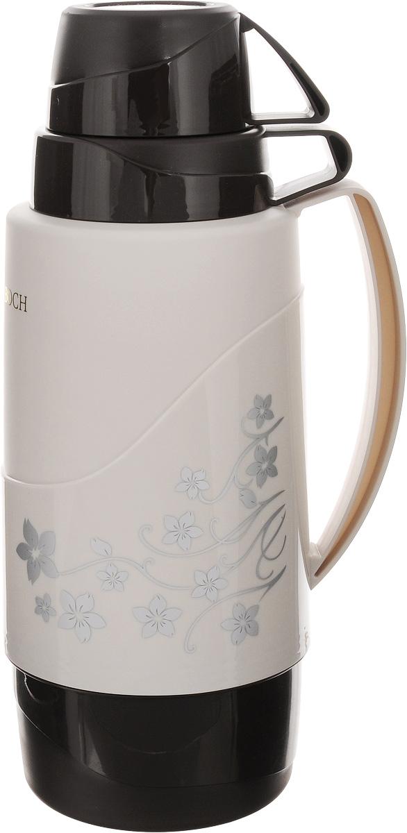Термос Mayer & Boch, цвет: черный, светло-серый, 1,8 лVT-1520(SR)Термос Mayer & Boch пригодится в любой ситуации: будь то экстремальный поход, пикник илипоездка. Корпус термоса, выполненный из цветного пищевого полипропилена (пластика),декорирован цветочным узором. Для удобства переноски предусмотрена ручка. Колба термоса изготовлена из стекла, которое является экологически чистым материалом ипрекрасно держит температуру. Удобный носик позволит аккуратно налить напиток в съемнуючашу.Термос Mayer & Boch - это идеальный вариант для большой компании и дальней поездки. В негопоместится большой объем жидкости, и вы в любое время сможете насладиться любимыминапитками.Диаметр термоса (по верхнему краю): 5,5 см.Высота термоса (без учета крышки): 31 см.Диаметр основания термоса: 11 см.Диаметр чаш (по верхнему краю): 10 см; 8,5 см.Высота чаш: 7 см; 5 см.