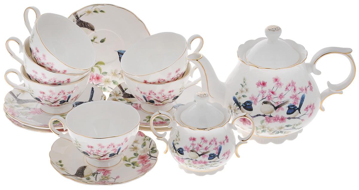 Набор чайный Elan Gallery Райские птички, 14 предметов115510Чайный набор Elan Gallery Райские птички состоит из 6 чашек, 6 блюдец, сахарницы и чайника. Сахарница и чайник оснащены крышками.Изделия, выполненные из высококачественной керамики, имеют элегантный дизайн и классическую форму.Такой набор прекрасно подойдет как для повседневного использования, так и дляпраздников. Чайный набор Elan Gallery Райские птички - это не только яркий и полезный подарок дляродных иблизких, но и великолепное дизайнерское решение для вашей кухни илистоловой. Не использовать в микроволновой печи.Объем чашки: 220 мл. Диаметр чашки (по верхнему краю): 10 см. Высота чашки: 6,5 см.Диаметр блюдца (по верхнему краю): 15 см.Высота блюдца: 2 см.Объем сахарницы: 300 мл.Высота сахарницы (без учета крышки): 8 см.Диаметр сахарницы (по верхнему краю): 8 см.Ширина сахарницы (с учетом ручек): 14,5 см.Объем чайника: 1,1 л.Высота чайника (без учета крышки): 13 см.Диаметр чайника (по верхнему краю): 10 см.Ширина чайника (с учетом ручки и носика): 25 см.