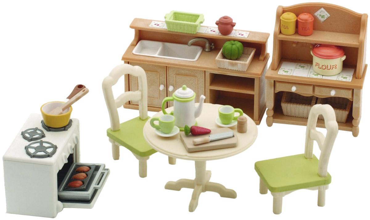 """Игровой набор """"Кухня в коттедже"""" привлечет внимание вашего ребенка и станет отличным подарком для поклонников жителей чудесной страны Sylvanian Families. В комплект входит кухонный гарнитур, стол, 2 стула, духовка и посуда. Теперь герои """"Sylvanian Families"""" полностью готовы к принятию пищи! Компания была основана в 1985 году, в Японии. """"Sylvanian Families"""" очень популярен в Европе и Азии, и, за долгие годы существования, компания смогла добиться больших успехов. 3 года подряд в Англии бренд """"Sylvanian Families"""" был признан """"Игрушкой Года"""". Сегодня у героев """"Sylvanian Families"""" есть собственное шоу, полнометражный мультфильм и сеть ресторанов, работающая по всей Японии. """"Sylvanian Families"""" - это целый мир маленьких жителей, объединенных общей легендой. Жители страны """"Sylvanian Families"""" - это кролики, белки, медведи, лисы и многие другие. У каждого из них есть дом, в котором есть все необходимое для счастливой жизни. В городе, где живут герои, есть..."""