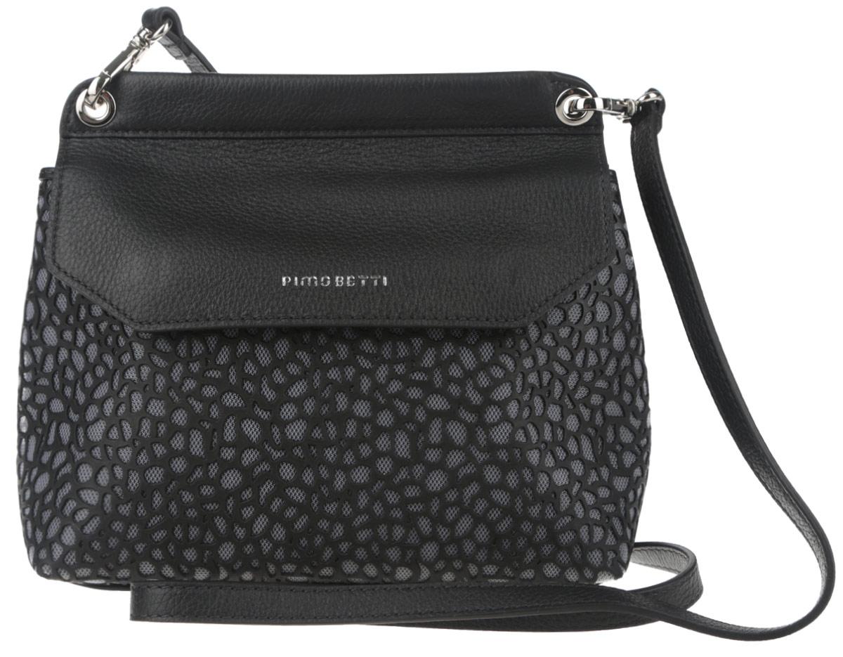 Сумка женская Pimo Betti, цвет: черный. 14593B1-W2S76245Стильная женская сумка Pimo Betti выполнена из натуральной кожи и текстиля с оригинальной фактурой, оформлена символикой бренда.Изделие содержит одно вместительное отделение, закрывающееся клапаном на магниты. Внутри сумки расположены накладной кармашек для мелочей и врезной карман на застежке-молнии. Снаружи, на задней стороне сумки, расположен врезной кармашек на застежке-молнии. Изделие оснащено съемным плечевым ремнем регулируемой длины.Оригинальный аксессуар позволит вам завершить образ и быть неотразимой.