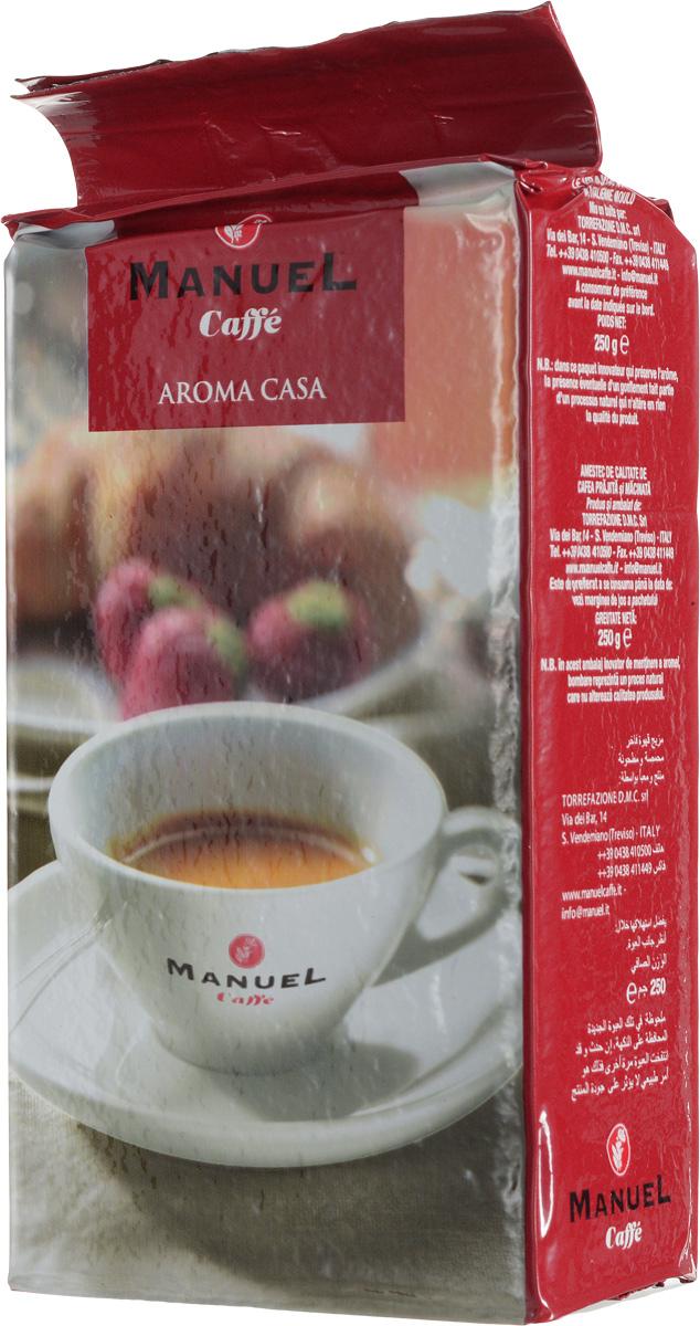 Manuel Aroma Casa кофе молотый, 250 г0120710Кофе Manuel Aroma Casa - это бленд классического итальянского эспрессо с содержанием арабики (60%) и робусты (40%). Арабика обжаривается отдельно от робусты, а затем они смешиваются в определенных пропорциях. Отдельная термообработка каждого сорта позволяет полностью раскрывать вкус напитка. Этот кофе безусловно понравится любителям настоящего итальянского эспрессо!