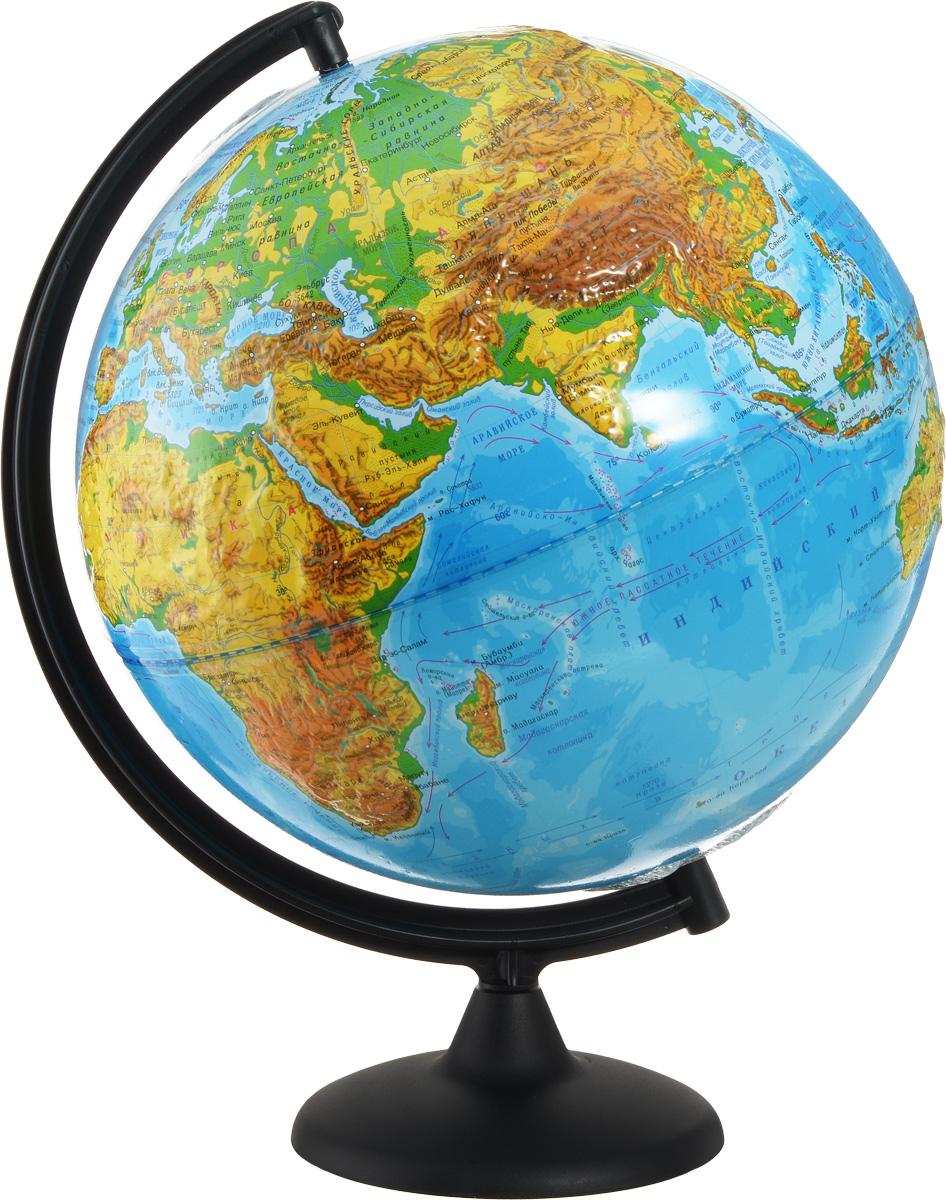 Глобусный мир Глобус с физической картой мира рельефный диаметр 32 смFS-00897Глобус рельефный с физической картой мира, изготовленный из высококачественного прочного пластика, показывает страны мира, сухопутные и морские границы того или иного государства, расположение городов и населенных пунктов. На нем отображены картографические линии: параллели и меридианы, а также градусы и условные обозначения. На глобусе имеются направления, названия подводных течений и ветров. А также имеется шкала глубин и высот в метрах. С помощью данного глобуса можно получить правильное представление о форме, размерах, расположении материков, океанов, островов, морей и рек. Модель имеет рельефную выпуклую поверхность, что, в свою очередь, делает глобус особенно интересным для детей младшего школьного и дошкольного возрастов. Названия стран на глобусе приведены на русском языке. Помимо этого глобус обладает приятной цветовой гаммой. Изделие расположено на подставке. Настольный глобус с физической картой Глобусный мир станет оригинальным украшением рабочего стола или вашего кабинета. Это изысканная вещь для стильного интерьера, которая станет прекрасным подарком для современного преуспевающего человека, следующего последним тенденциям моды и стремящегося к элегантности и комфорту в каждой детали.Масштаб: 1:40 000 000.