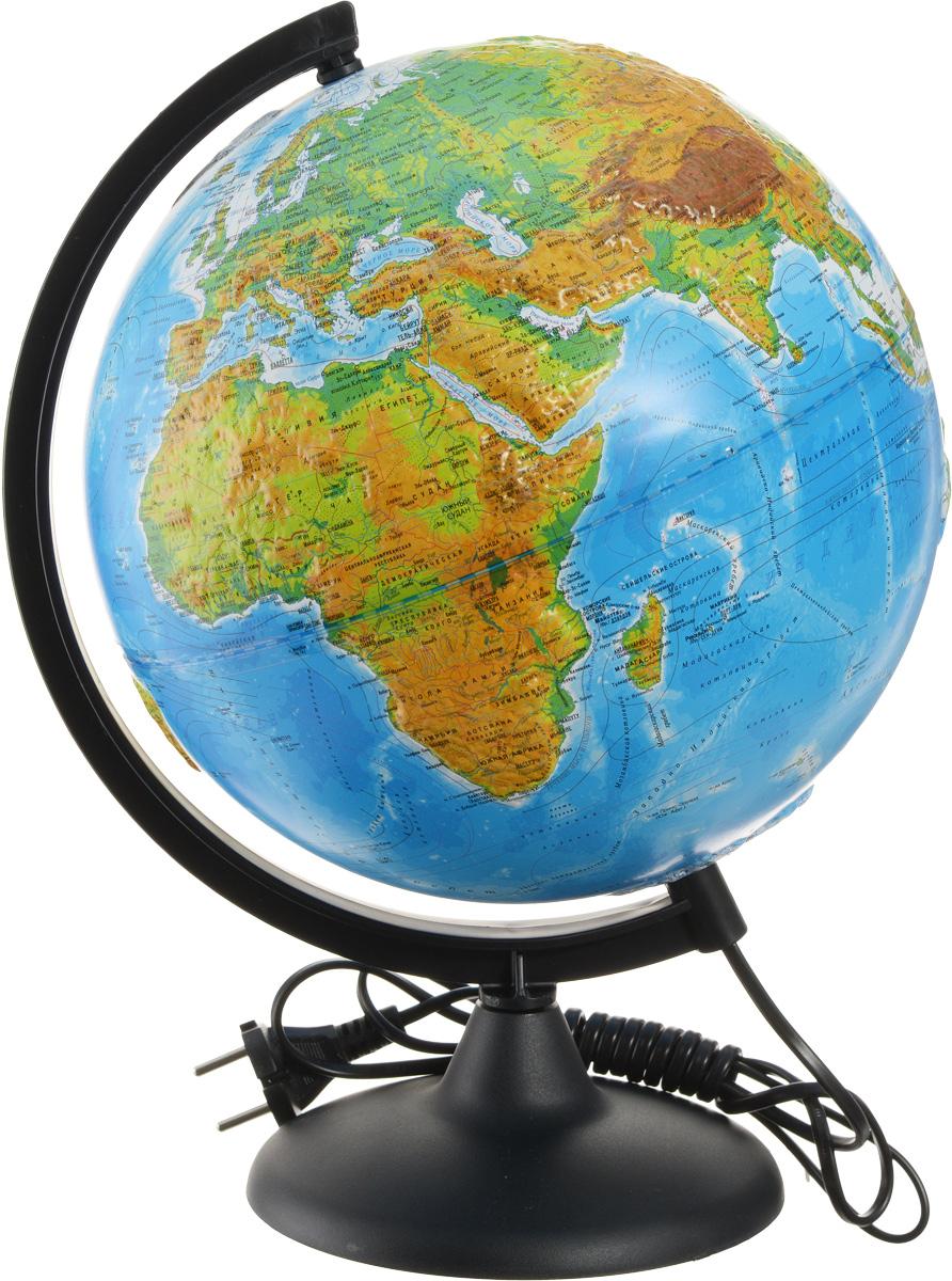 """Рельефный глобус с физической и политической картой мира """"Глобусный мир"""" станет незаменимым атрибутом обучения не только школьника, но и студента. На глобусе имеются направления и названия подводных течений и ветров, а также столицы государств, государственные границы и другие населенные пункты. С помощью данного глобуса можно получить правильное представление о форме, размерах, расположении материков, океанов, островов, морей и рек. Модель имеет рельефную выпуклую поверхность, что, в свою очередь, делает глобус особенно интересным для детей младшего школьного возраста. Названия стран на глобусе приведены на русском языке. Помимо этого глобус обладает приятной цветовой гаммой. Изделие расположено на пластиковой подставке и имеет подсветку. Настольный глобус """"Глобусный мир"""" станет оригинальным украшением рабочего стола или вашего кабинета. Это изысканная вещь для стильного интерьера, которая станет прекрасным подарком для современного преуспевающего человека, следующего последним..."""