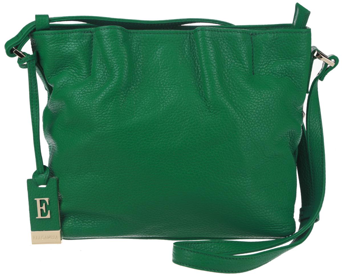 Сумка женская Eleganzza, цвет: зеленый. ZZ-XKB812101225Яркая женская сумка торговой марки Eleganzza выполнена из натуральной кожи с зернистой фактурой и застегивается на металлическую застежку-молнию.Сумка содержит два нашивных открытых кармана для мелочей и телефона, врезной карман на пластиковой застежке-молнии и карман-средник на молнии. Снаружи, на лицевой стороне сумки, расположен кармашек на магните. Изделие оснащено несъемным плечевым ремнем, длина которого регулируется металлической пряжкой. Предусмотрены металлические ножки на дне сумки. Изделие декорировано фирменным брелоком с символикой бренда.Прилагается фирменный текстильный чехол для хранения.Оригинальный аксессуар позволит вам завершить образ и быть неотразимой.
