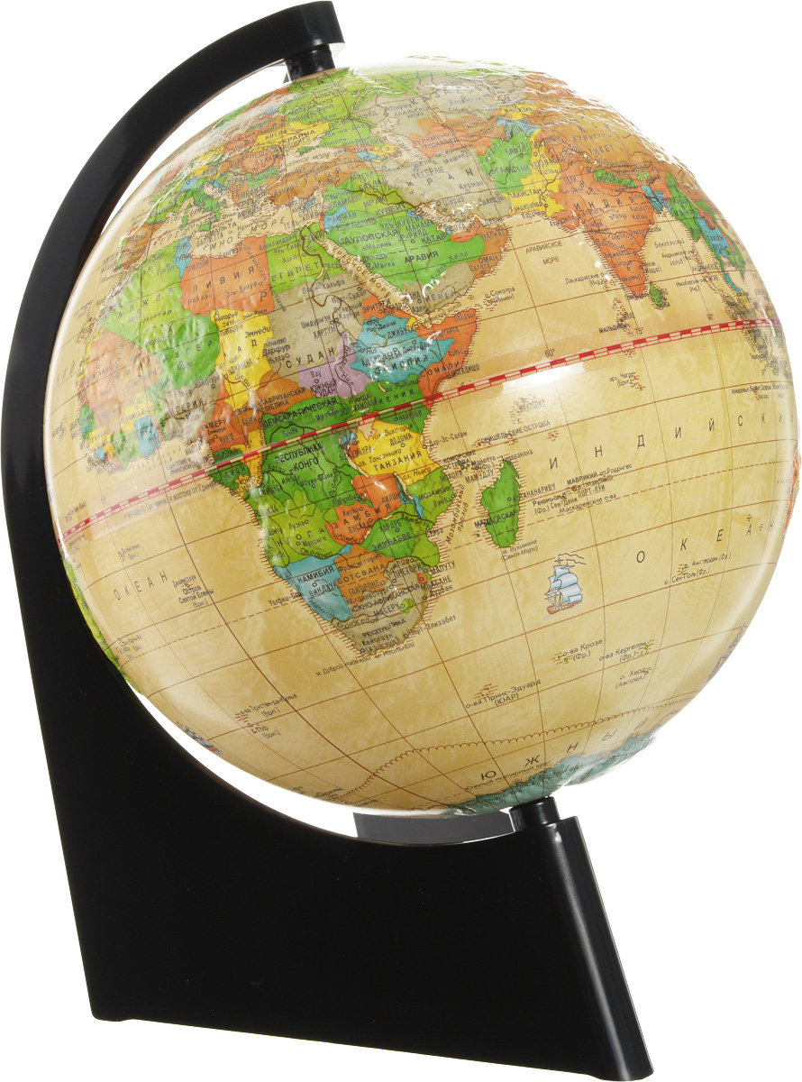 Глобусный мир Глобус с политической картой мира Ретро-Александр рельефный диаметр 21 смFS-00897Глобус с политической картой мира Глобусный мир изготовлен из высококачественного прочного пластика.Данная модель выполнена в ретро стиле и показывает страны мира, границы того или иного государства, расположение городов и населенных пунктов. Изделие расположено на треугольной подставке и легко вращается вокруг своей оси. На глобусе отображены картографические линии: параллели, меридианы, а также градусы. Все страны мира раскрашены в разные цвета. Модель имеет рельефную выпуклую поверхность, что, в свою очередь, делает глобус особенно интересным для детейшкольного возраста. Глобус с политической картой мира станет незаменимым атрибутом обучения не только школьника, но и студента. Названия стран на глобусе приведены на русском языке.Глобус с политической картой мира Ретро-Александр станет оригинальным украшением рабочего стола или вашего кабинета. Это изысканная вещь для стильного интерьера, которая будет прекрасным подарком для современного преуспевающего человека, следующего последним тенденциям моды и стремящегося к элегантности и комфорту в каждой детали.Масштаб: 1:60 000 000.