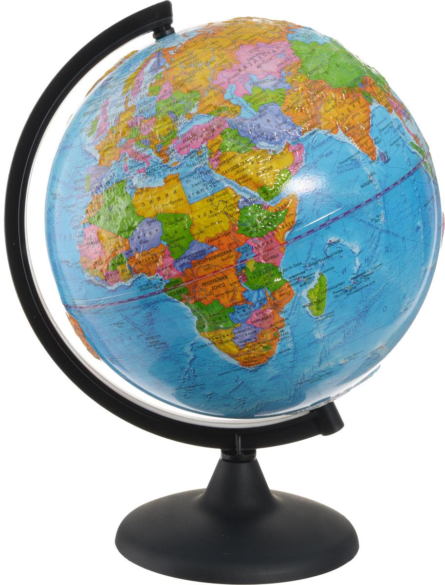 Глобусный мир Глобус с политической картой мира рельефный диаметр 25 смКе022500194Глобус с политической картой мира Глобусный мир, изготовленный из высококачественного прочного пластика, показывает страны мира, сухопутные и морские границы того или иного государства, расположение городов и населенных пунктов.Изделие расположено на подставке. На глобусе отображены картографические линии: параллели и меридианы, а также градусы и условные обозначения. Модель имеет рельефную выпуклую поверхность, что, в свою очередь, делает глобус особенно интересным для детей младшего школьного и дошкольного возрастов. Все страны мира раскрашены в разные цвета. Глобус с политической картой мира станет незаменимым атрибутом обучения не только школьника, но и студента. Названия стран на глобусе приведены на русском языке. Настольный глобус Глобусный мир станет оригинальным украшением рабочего стола или вашего кабинета. Это изысканная вещь для стильного интерьера, которая станет прекрасным подарком для современного преуспевающего человека, следующего последним тенденциям моды и стремящегося к элегантности и комфорту в каждой детали.Масштаб: 1:50 000 000.