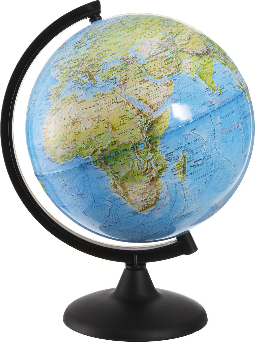 Глобусный мир Глобус ландшафтный диаметр 25 см10285Ландшафтный глобус Глобусный мир, изготовленный из высококачественного прочного пластика.Данная модель предназначена для ознакомления с особенностями ландшафта нашей планеты. Помимо этого ландшафтный глобус обладает приятной цветовой гаммой. Глобус дает представление о местоположении материков и океанов, а также можно увидеть крупнейшие населенные пункты, столицы государств, границы полярных владений Российской Федерации. Названия стран на глобусе приведены на русском языке.Настольный ландшафтный глобус Глобусный мир станет оригинальным украшением рабочего стола или вашего кабинета. Это изысканная вещь для стильного интерьера, которая станет прекрасным подарком для современного преуспевающего человека, следующего последним тенденциям моды и стремящегося к элегантности и комфорту в каждой детали.Масштаб: 1:60 000 000.