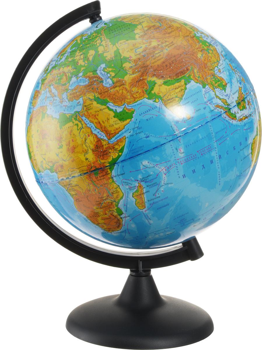 """Глобус с физической картой """"Глобусный мир"""", изготовленный из высококачественного прочного пластика, показывает страны мира, сухопутные и морские границы того или иного государства, расположение городов и населенных пунктов. На нем отображены картографические линии: параллели и меридианы, а также градусы и условные обозначения. На глобусе имеются направления и названия подводных течений и ветров, шкала глубин и высот в метрах, отметки высот над уровнем моря, шельфовые ледники, зимняя граница плавучих льдов. С помощью данного глобуса можно получить правильное представление о форме, размерах, расположении материков, океанов, островов, морей и рек. Названия стран на глобусе приведены на русском языке. Помимо этого глобус обладает приятной цветовой гаммой. Изделие расположено на деревянной подставке, что придает этой модели подарочный вид. Настольный глобус с физической картой """"Глобусный мир"""" станет оригинальным украшением рабочего стола или вашего..."""