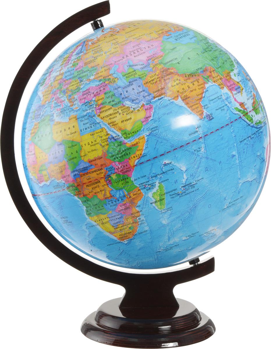 Глобусный мир Глобус с политической картой мира диаметр 32 смFS-00897Глобус с политической картой мира Глобусный мир, изготовленный из высококачественного прочного пластика, показывает страны мира, сухопутные и морские границы того или иного государства, расположение городов и населенных пунктов.На нем отображены картографические линии: параллели и меридианы, а также градусы и условные обозначения, центры владений, научные станции и судоходные каналы. Каждая страна обозначена своим цветом. Глобус с политической картой мира станет незаменимым атрибутом обучения не только школьника, но и студента. Названия стран на глобусе приведены на русском языке. Изделие расположено на деревянной подставке, что придает этой модели подарочный вид. Настольный глобус Глобусный мир станет оригинальным украшением рабочего стола или вашего кабинета. Это изысканная вещь для стильного интерьера, которая станет прекрасным подарком для современного преуспевающего человека, следующего последним тенденциям моды и стремящегося к элегантности и комфорту в каждой детали.Масштаб: 1:40 000 000.