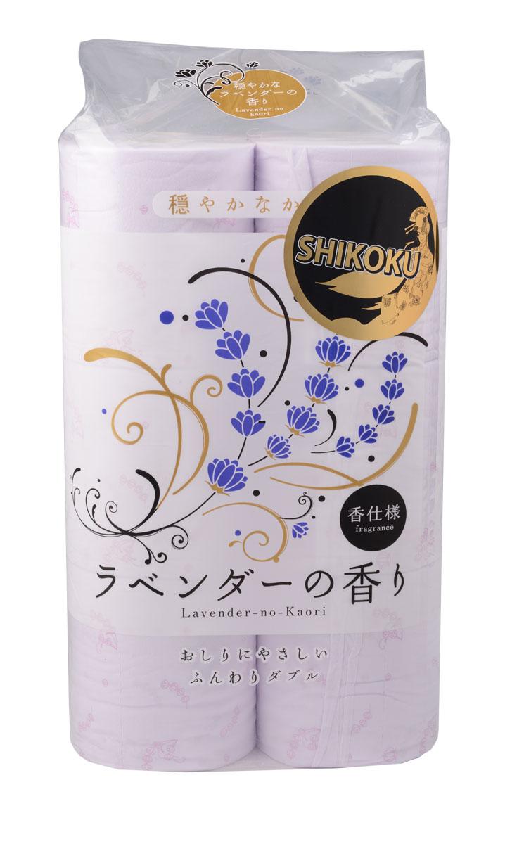Парфюмированная туалетная бумага Shikoku Lavender-no-Kaori, 2-х слойная, 12 рулоновSS 4041Туалетная бумага Shikoku в данной серии представлена ароматом лаванды./ По сравнению с синтетическим запахом обычной ароматизированной бумаги, ароматы Shikoku Tokushi природные, изысканные и утонченные./ Также при производстве бумаги используется 100% целлюлоза, которая прошла тщательный отбор и особую обработку, а многолетний опыт сотрудников копании гарантирует высокое качество туалетной бумаги Shikoku Tokushi./ Туалетная бумага Shikoku мгновенно впитывает даже большое количество воды, поскольку между слоями бумаги есть воздушное пространство, что позволяет сократить объемы используемой бумаги на треть, а глубокие линии тиснения обеспечивают надежное соединение слоев и прочность бумаги. / Туалетная бумага Shikoku изготовлена из природных материалов и воды из источников Ниёдогава. /Состав: натуральная 100% целлюлоза./Срок годности не ограничен.