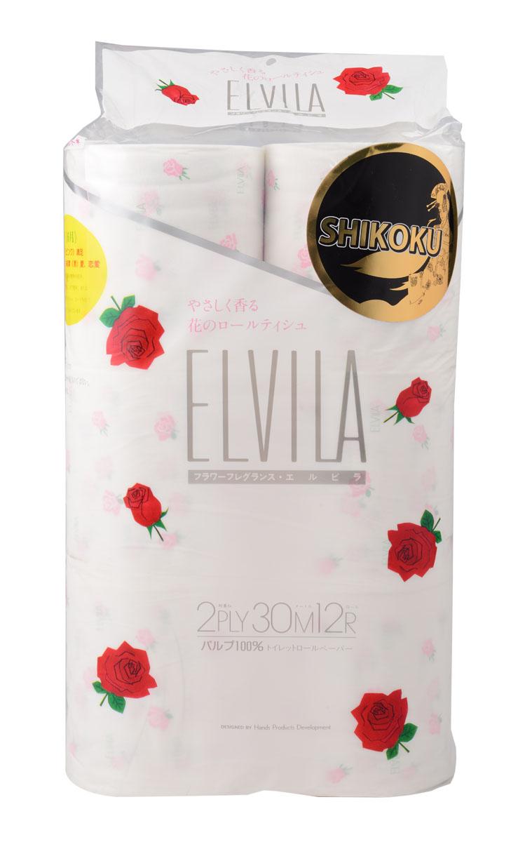 Парфюмированная туалетная бумага Shikoku Elvila, 2-х слойная, 12 рулоновS28 DCТуалетная бумага Shikoku серии «Elvila» представлена изысканным ароматом розы./ По сравнению с синтетическим запахом обычной ароматизированной бумаги, ароматы Shikoku Tokushi природные, изысканные и утонченные./ Также при производстве бумаги используется 100% целлюлоза, которая прошла тщательный отбор и особую обработку, а многолетний опыт сотрудников компании гарантирует высокое качество туалетной бумаги Shikoku Tokushi./ Туалетная бумага Серии «Elvila» мгновенно впитывает даже большое количество воды, поскольку между слоями бумаги есть воздушное пространство, что позволяет сократить объемы используемой бумаги на треть, а глубокие линии тиснения обеспечивают надежное соединение слоев и прочность бумаги. / Туалетная бумага Shikoku изготовлена из природных материалов и воды из источников Ниёдогава. / Состав: 100% целлюлоза.