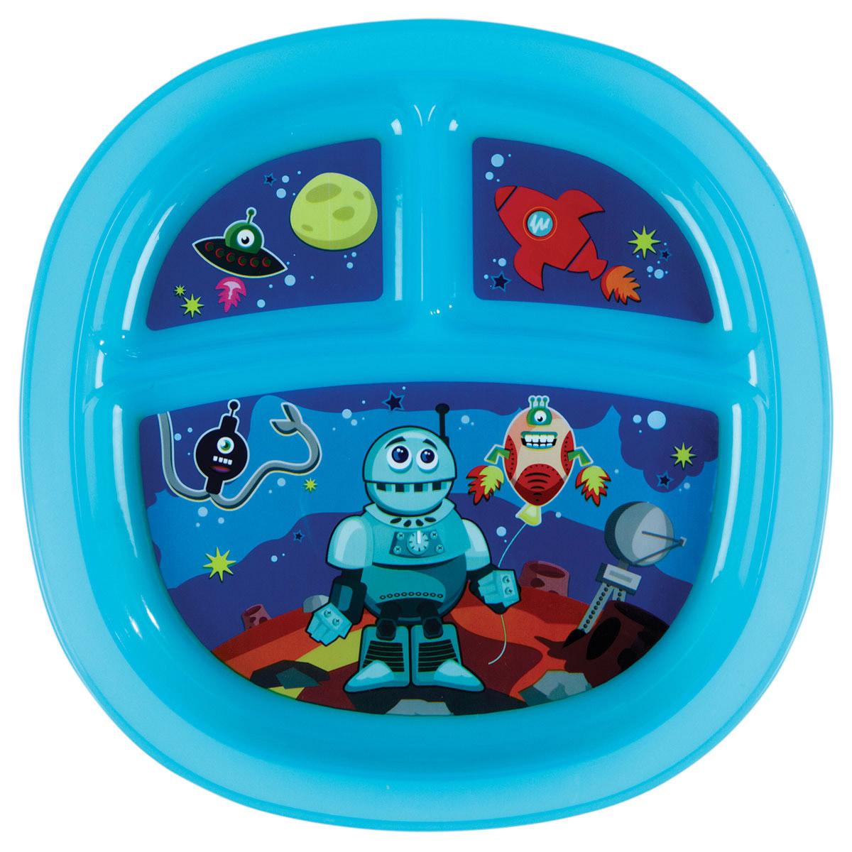 Munchkin Тарелка детская с разделителями цвет синий11396_синийДетская тарелка Munchkin прекрасно подойдет для кормления малыша от 6 месяцев.Тарелка выполнена из прочного безопасного пластика, не содержащего бисфенол-А, и оформлена яркими рисунками. Тарелка разделена на три секции, которые не позволят еде смешиваться. На дне тарелки имеются прорезиненные вставки, предохраняющие ее от скольжения.Детскую тарелку Munchkin можно использовать в микроволновой печи. Можно мыть на верхней полке в посудомоечной машине.