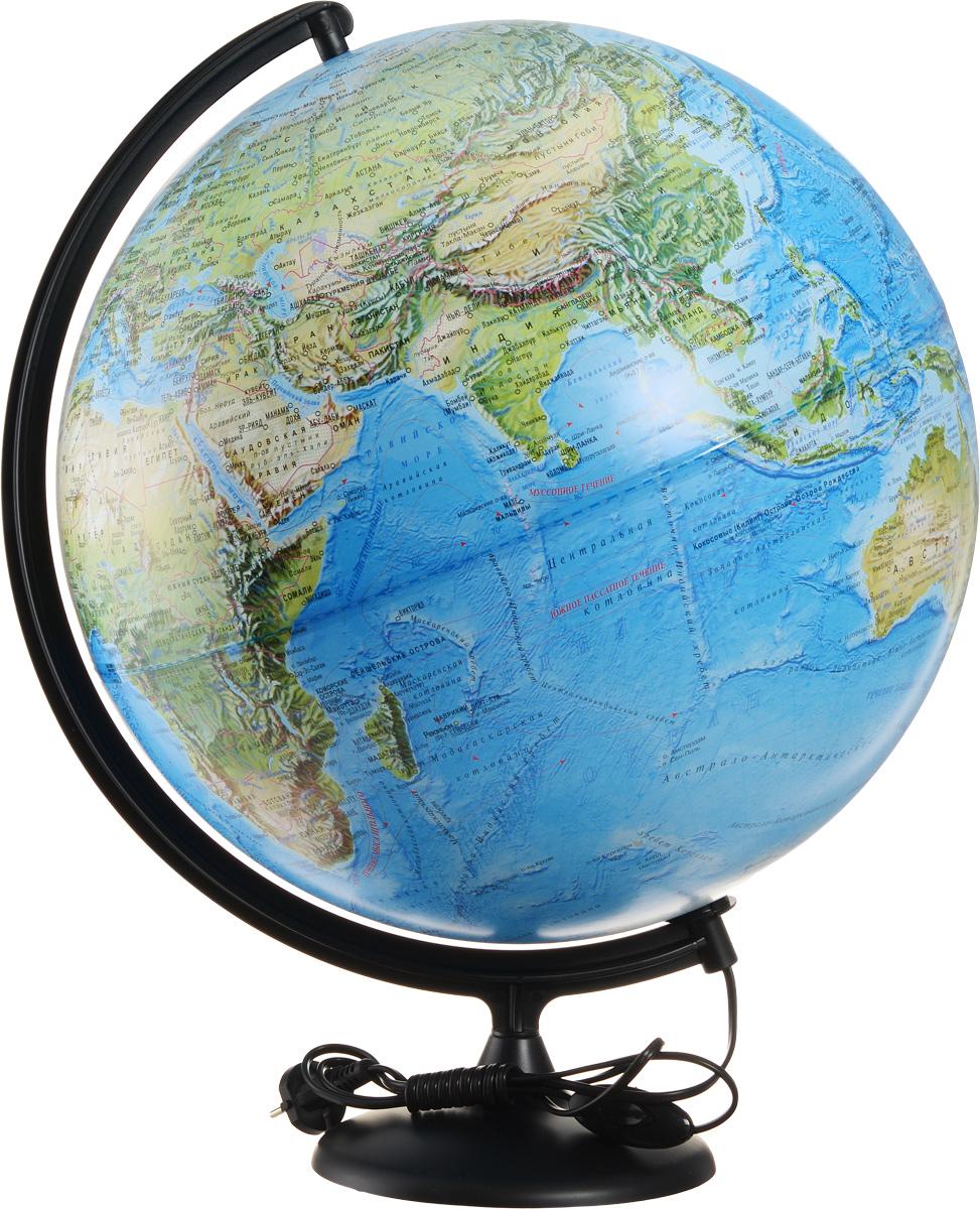 Глобусный мир Глобус с физической/политической картой мира диаметр 42 см с подсветкой10355Глобус с физической и политической картой мира станет незаменимым атрибутом обучения не только школьника, но и студента.На глобусе имеются направления и названия подводных течений и ветров. А также столицы государств, границы полярных владений Российской Федерации, государственные границы и другие населенные пункты. С помощью данного глобуса можно получить правильное представление о форме, размерах, расположении материков, океанов, островов, морей и рек. Названия стран на глобусе приведены на русском языке. Помимо этого глобус обладает приятной цветовой гаммой. Изделие расположено на пластиковой подставке и имеет подсветку.Настольный глобус Глобусный мир станет оригинальным украшением рабочего стола или вашего кабинета. Это изысканная вещь для стильного интерьера, которая станет прекрасным подарком для современного преуспевающего человека, следующего последним тенденциям моды и стремящегося к элегантности и комфорту в каждой детали.Масштаб: 1:30 000 000.