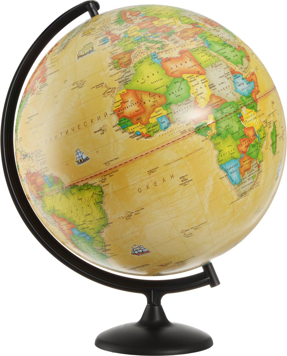 Глобусный мир Глобус с политической картой мира Ретро-Александр диаметр 42 см10326Глобус с политической картой мира Глобусный мир изготовлен из высококачественного прочного пластика.Данная модель выполнена в ретро стиле и показывает страны мира, границы того или иного государства, расположение городов и населенных пунктов. Изделие расположено на подставке и легко вращается вокруг своей оси. На глобусе отображены картографические линии: параллели, меридианы и градусы. Все страны мира раскрашены в разные цвета. Глобус с политической картой мира станет незаменимым атрибутом обучения не только школьника, но и студента. Названия стран на глобусе приведены на русском языке.Глобус с политической картой мира Ретро-Александр станет оригинальным украшением рабочего стола или вашего кабинета. Это изысканная вещь для стильного интерьера, которая будет прекрасным подарком для современного преуспевающего человека, следующего последним тенденциям моды и стремящегося к элегантности и комфорту в каждой детали.Масштаб: 1:20 000 000.