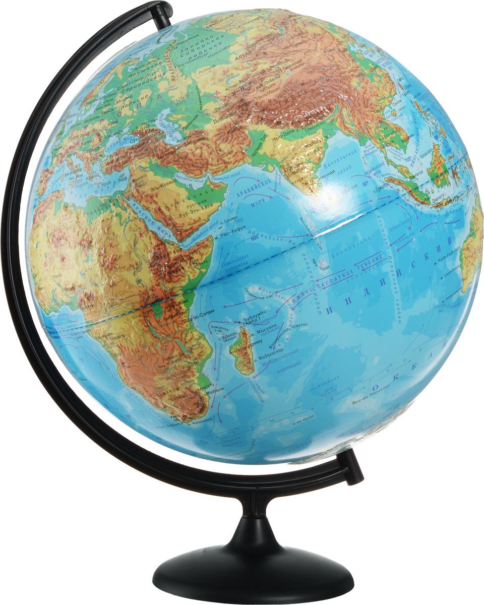 """Глобус с физической картой мира """"Глобусный мир"""", изготовленный из высококачественного прочного пластика, показывает страны мира, сухопутные и морские границы того или иного государства, расположение городов и населенных пунктов. На нем отображены картографические линии: параллели и меридианы, а также градусы и условные обозначения. На глобусе имеются направления, названия подводных течений и ветров, шкала глубин и высот в метрах, отметки высот над уровнем моря. С помощью данного глобуса можно получить правильное представление о форме, размерах, расположении материков, океанов, островов, морей и рек. Модель имеет рельефную выпуклую поверхность, что, в свою очередь, делает глобус особенно интересным для детей младшего школьного и дошкольного возрастов. Названия стран на глобусе приведены на русском языке. Помимо этого глобус обладает приятной цветовой гаммой. Изделие расположено на подставке и легко вращается вокруг своей оси. Настольный глобус с..."""