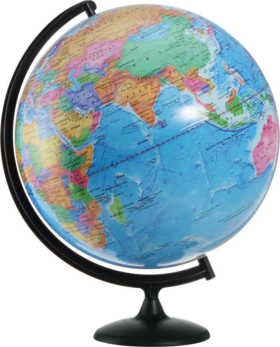 Глобусный мир Глобус с политической картой мира диаметр 42 смFS-00897Глобус с политической картой мира Глобусный мир изготовлен из высококачественного и прочного пластика. Глобус показывает страны мира, границы того или иного государства, расположение столиц государств, городов и населенных пунктов.Изделие расположено на черной пластиковой подставке. На глобусе отображены картографические линии: параллели и меридианы, а также градусы и условные обозначения. Все страны мира раскрашены в разные цвета. Названия стран на глобусе приведены на русском языке. Глобус с политической картой мира станет незаменимым атрибутом обучения не только школьника, но и студента.Настольный глобус Глобусный мир станет оригинальным украшением рабочего стола или вашего кабинета. Это изысканная вещь для стильного интерьера, которая станет прекрасным подарком для современного преуспевающего человека, следующего последним тенденциям моды и стремящегося к элегантности и комфорту в каждой детали.Масштаб: 1:30 000 000.