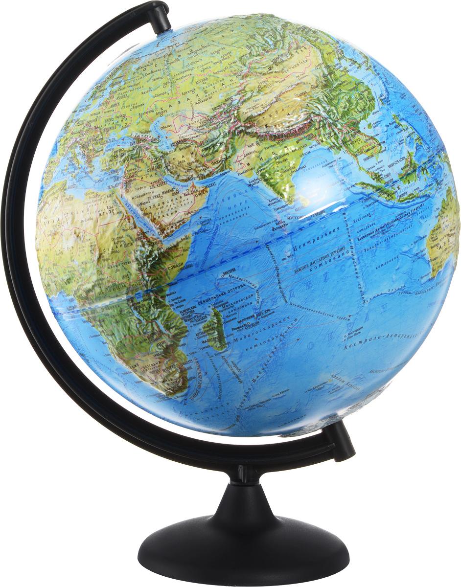 Глобусный мир Глобус ландшафтный рельефный диаметр 32 см10242Ландшафтный глобус Глобусный мир изготовлен из высококачественного и прочного пластика. Данная модель предназначена для ознакомления с особенностями ландшафта нашей планеты. Помимо этого ландшафтный глобус обладает приятной цветовой гаммой. Глобус дает представление о местоположении материков и океанов, на нем можно рассмотреть особенности ландшафта Земли. На данной модели нанесены направления и названия водных течений. Модель имеет рельефную выпуклую поверхность, что, в свою очередь, делает глобус особенно интересным для детей младшего школьного возраста. Изделие расположено на пластиковой подставке. Названия стран на глобусе приведены на русском языке.Настольный ландшафтный глобус Глобусный мир станет оригинальным украшением рабочего стола или вашего кабинета. Это изысканная вещь для стильного интерьера, которая станет прекрасным подарком для современного преуспевающего человека, следующего последним тенденциям моды и стремящегося к элегантности и комфорту в каждой детали.Масштаб: 1:60 000 000.