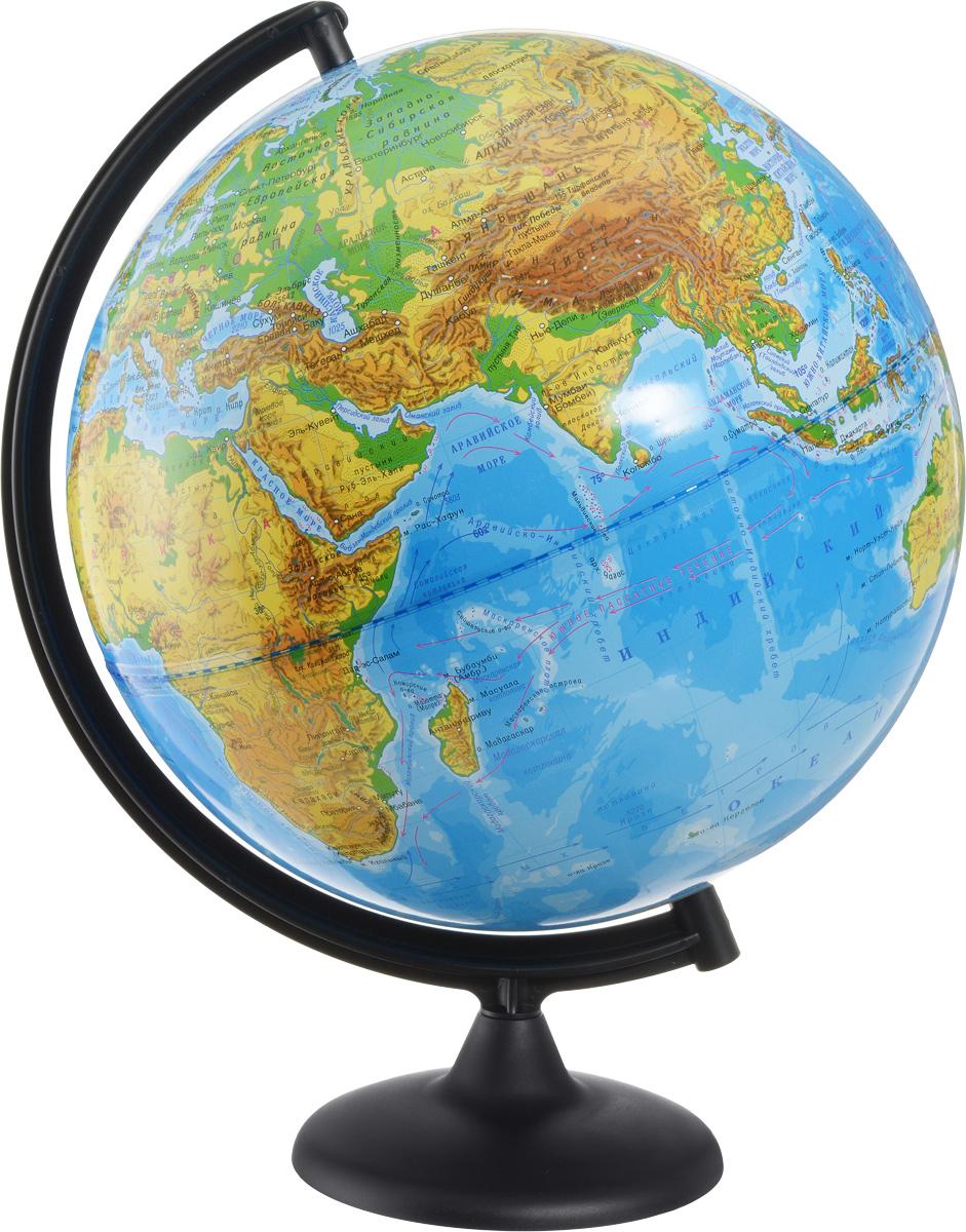 Глобусный мир Глобус с физической картой мира диаметр 32 см 10013FS-00897Глобус с физической картой мира Глобус мира, изготовленный из высококачественного и прочного пластика, показывает страны мира, сухопутные и морские границы того или иного государства, расположение городов и населенных пунктов. На глобусе имеются направления, названия подводных течений и ветров. А также имеется шкала глубин и высот в метрах, отметки глубин, отметки высот над уровнем моря. С помощью данного глобуса можно получить правильное представление о форме, размерах, расположении материков, океанов, островов, морей и рек. Названия стран на глобусе приведены на русском языке. Помимо этого глобус обладает приятной цветовой гаммой. Изделие расположено на пластиковой подставке. Настольный глобус с физической картой Глобусный мир станет оригинальным украшением рабочего стола или вашего кабинета. Это изысканная вещь для стильного интерьера, которая станет прекрасным подарком для современного преуспевающего человека, следующего последним тенденциям моды и стремящегося к элегантности и комфорту в каждой детали.Масштаб: 1:40 000 000.