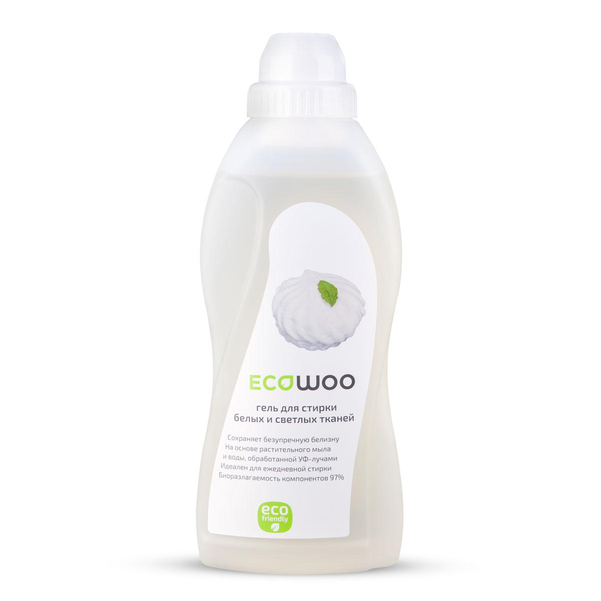 Гель EcoWoo для стирки белых и светлых тканей, 0,7 л531-402Сохраняет безупречную белизну. На основе растительного мыла и воды, обработанной УФ- лучами. Идеален для ежедневной стирки. Биоразлагаемость компонентов 97%. Формула ECOWOO обеспечивает бережный уход за белым бельем и светлыми вещами. Не допускает появления желтизны и серого налета на вещах.