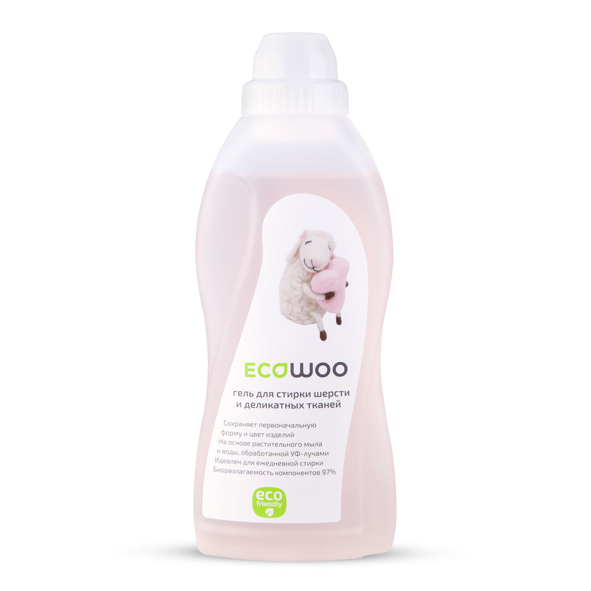 Гель EcoWoo для стирки шерсти и деликатных тканей, 0,7 лCLP446Гель EcoWoo - сохраняет первоначальную форму и цвет изделий. На основе растительного мыла и воды, обработанной Уф-лучами. Идеален для ежедневной стирки. Биоразлагаемость компонентов 97%.