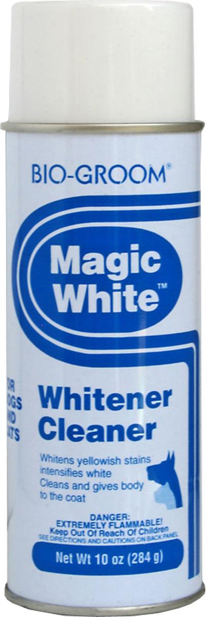 Выставочный спрей-мелок Bio-Groom Magic White, цвет: белый, 284 г51714Bio-Groom Magic White отбеливающий спрей для кошек и собак.Мелок в виде аэрозоля легко распыляется по шерсти животного, прекрасно отбеливая её и маскируя пятна, а также придаёт шерсти дополнительный объём.Входящие в состав компоненты не токсичны и содержат парфюмерные масла, которые придают коже животного приятный запах. Инструкция по применению:Перед использованием хорошенько встряхнуть (15-20 сек.) Если флакон долго стоял ( особенно при низких температурах) увеличить время встряхивание в 4-5 раз. Распылить на шерсть, дать высохнуть, удалить остатки щеткой. Предохранять от попадания в глаза. После применения, перевернуть флакон и распылять 2-3 сек для прочистки клапана. Если клапан засорен, следует его снять и прочистить. Не использовать вблизи открытого огня. Не брызгать в глаза. Не вскрывать – балон под давлением! Масса 284 г.