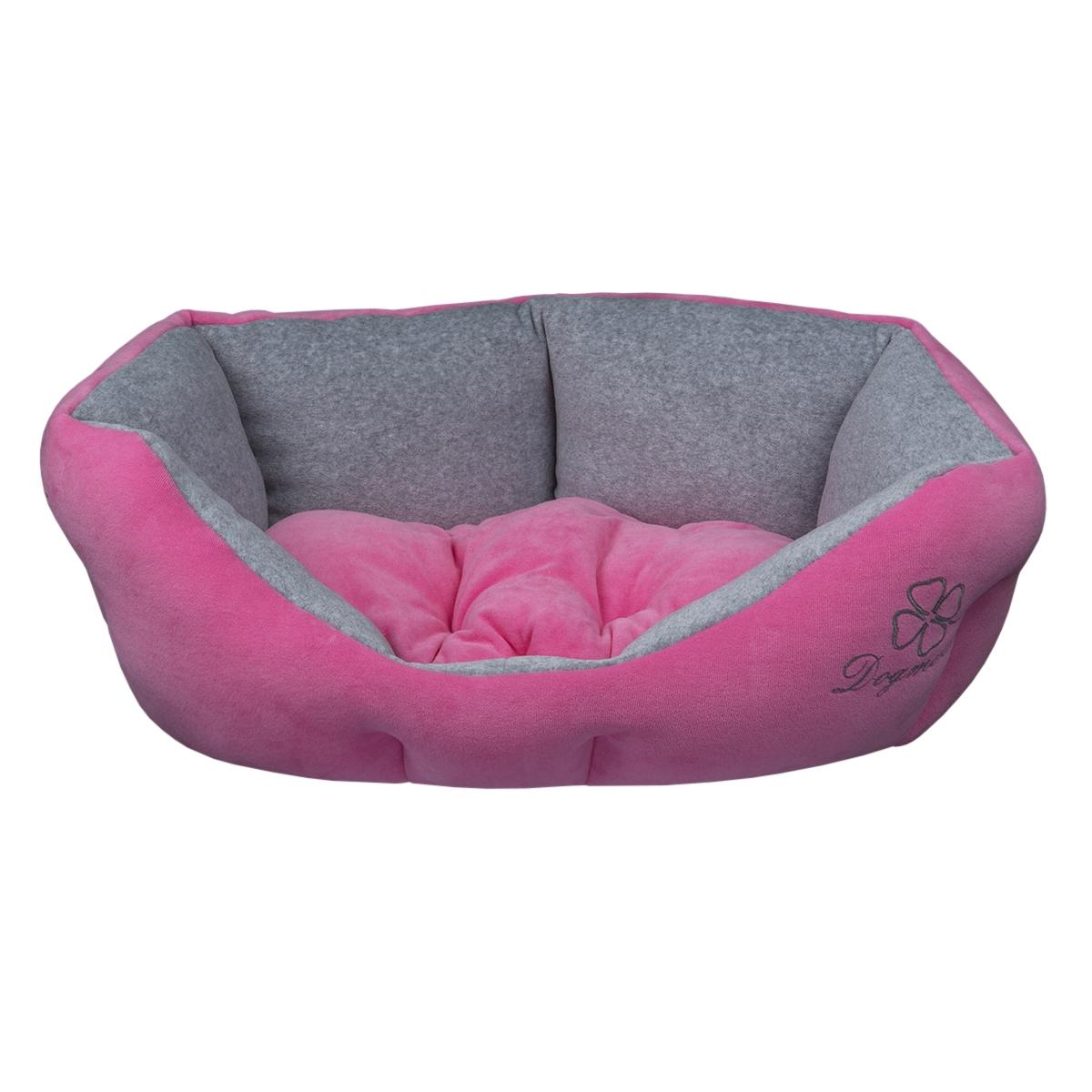 Лежак для животных Dogmoda Ретро, цвет: розовый, серый, 54 х 50 х 23 см0120710Лежак Dogmoda Ретро непременно станет любимым местом отдыха вашего домашнего животного. Изделие выполнено из высококачественного полиэстера и велюра, а наполнитель - из холлофайбера. Такой материал не теряет своей формы долгое время. Внутри имеется мягкая съемная подстилка.На таком лежаке вашему любимцу будет мягко и тепло. Он подарит вашему питомцу ощущение уюта и уединенности.