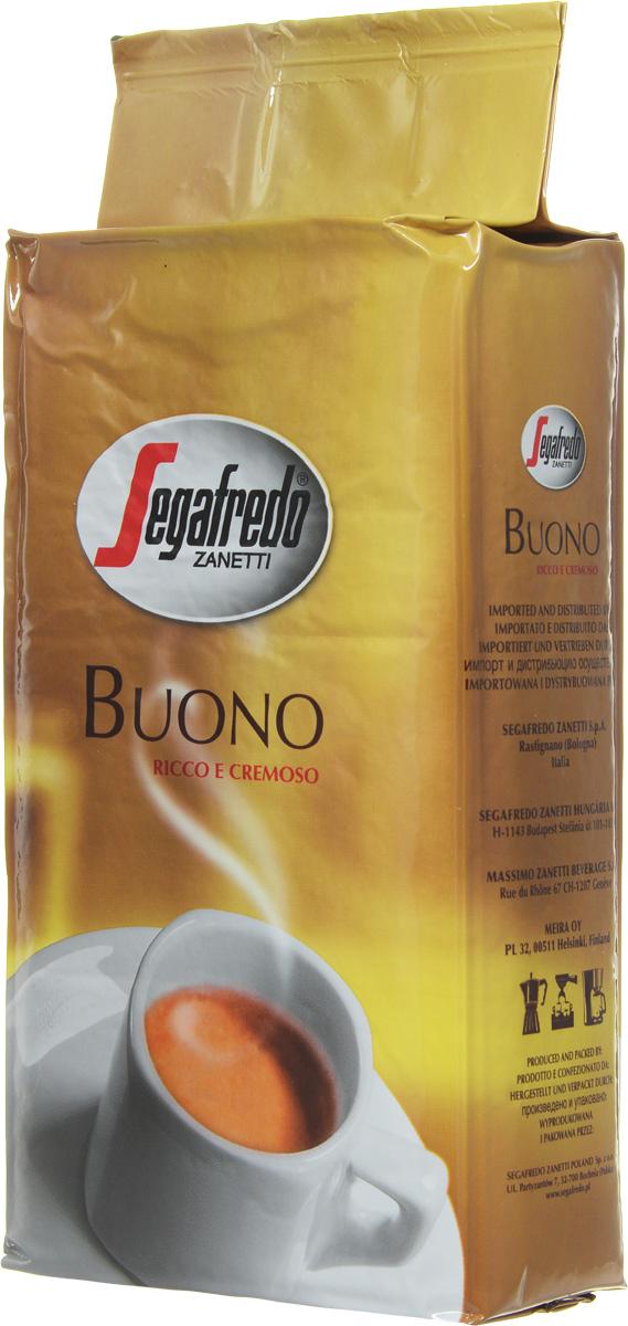 Segafredo Buono кофе молотый, 250 г0120710Кофе Buono New - это тщательно отобранная смесь зерен Арабики и Робусты из Южной Америки и Азии, что придает напитку богатый и сливочный вкус. Новое качество в улучшенной упаковке.