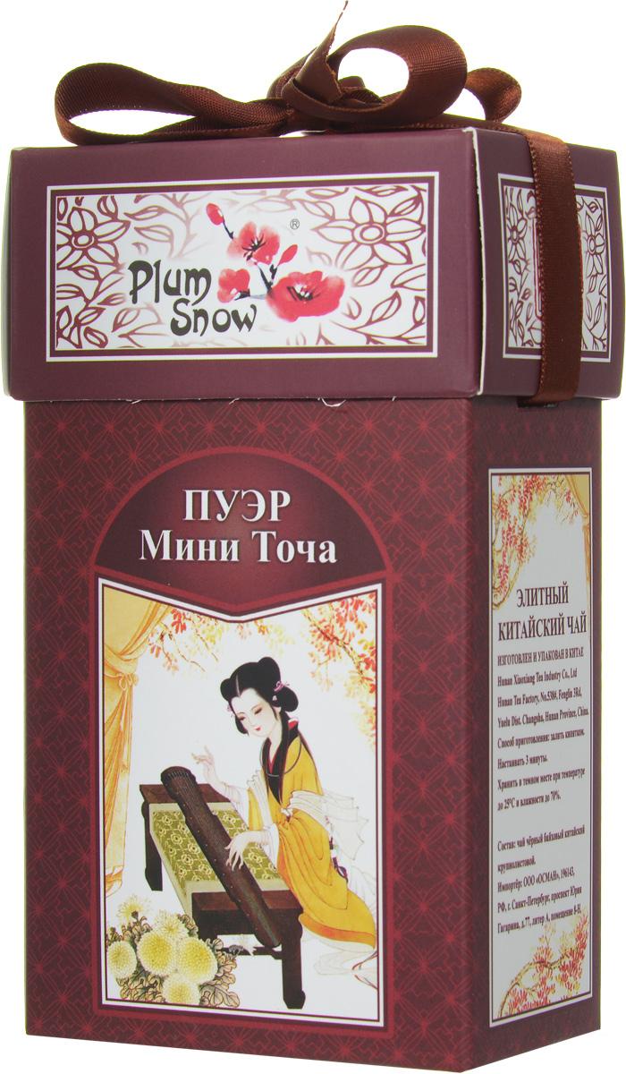 Plum Snow Пуэр мини точа черный листовой чай, 100 г4620009890424_Регулярная коллекцияPlum Snow Пуэр мини точа - черный китайский крупнолистовой чай - пуэр, спрессованный в форме гнездышка.