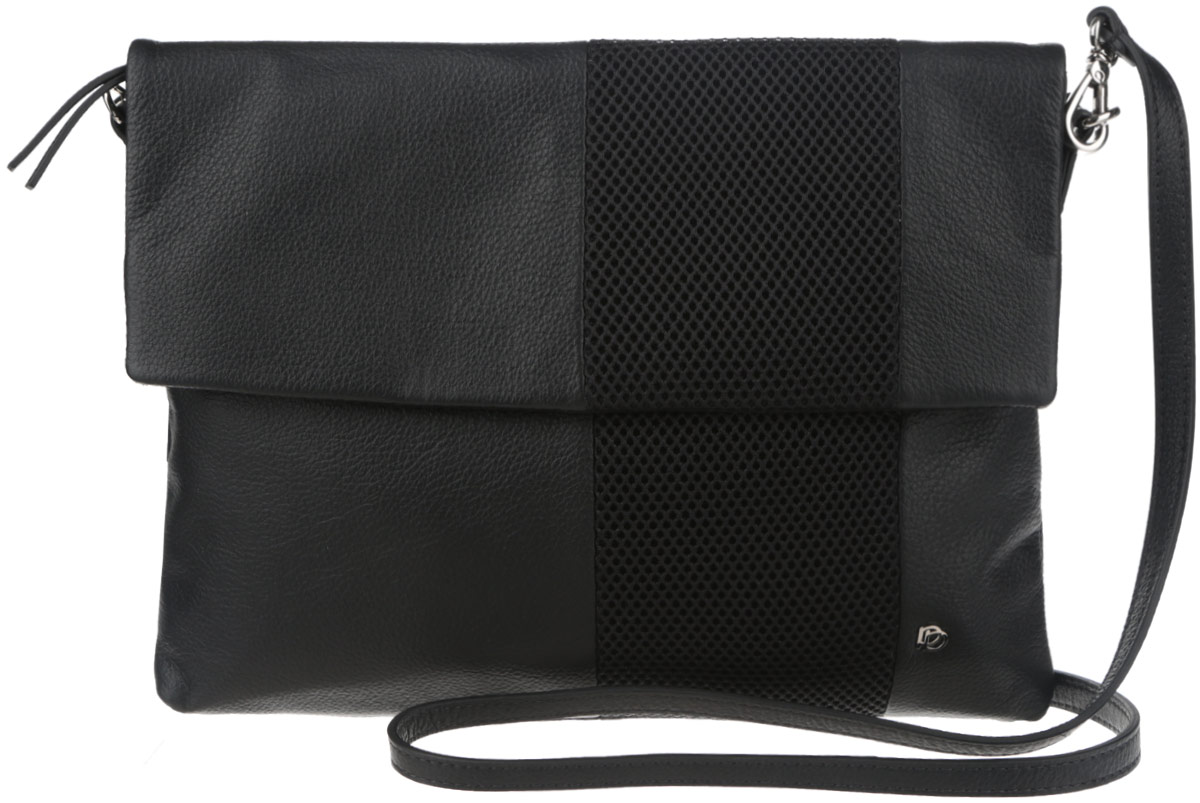 Сумка женская Pimo Betti, цвет: черный. 13831BR-W18-2Стильная женская сумка Pimo Betti выполнена из натуральной кожи с зернистой фактурой, оформлена текстильной вставкой и металлической фурнитурой с символикой бренда.Изделие содержит одно вместительное отделение, закрывающееся на застежку-молнию и дополнительно клапаном на магнитную кнопку. Внутри сумки расположены два накладных кармашка для мелочей и врезной карман на застежке-молнии. Задняя сторона сумки дополнена врезным карманом на молнии. Изделие оснащено съемным плечевым ремнем регулируемой длины.Оригинальный аксессуар позволит вам завершить образ и быть неотразимой.