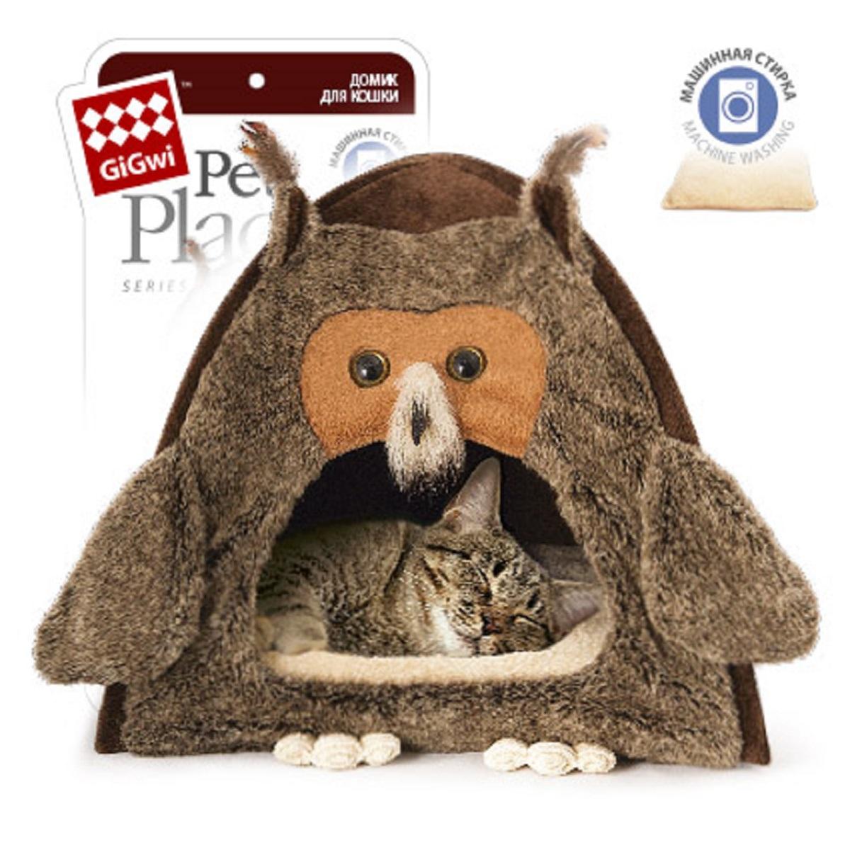 Домик для животных GiGwi Сова, 40 см х 45 см0120710Домик для животных GiGwi Сова непременно станет любимым местом отдыха вашего домашнего животного. Изделие выполнено из искусственного меха. В таком домике вашему любимцу будет мягко и тепло. Он подарит вашему питомцу ощущение уюта и уединенности, а также возможность спрятаться.