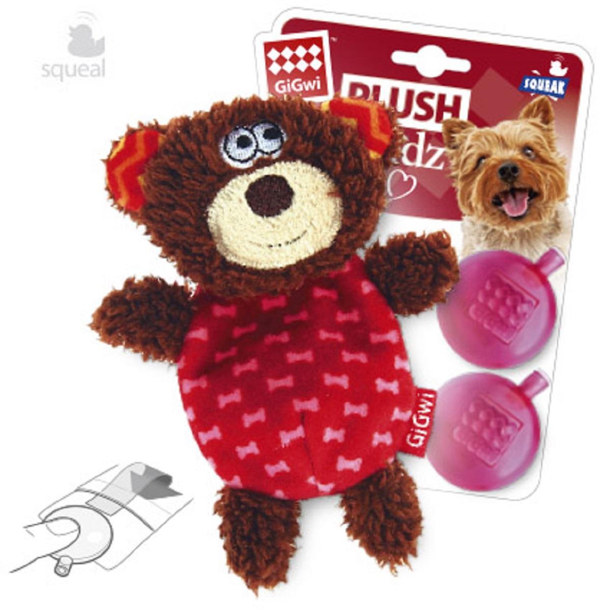 Игрушка для собак GiGwi Мишка с пищалкой, 13 см0120710Мишка с пищалкой (плюс 2 запасные пищалки). Размер: 13 см. Ткань.