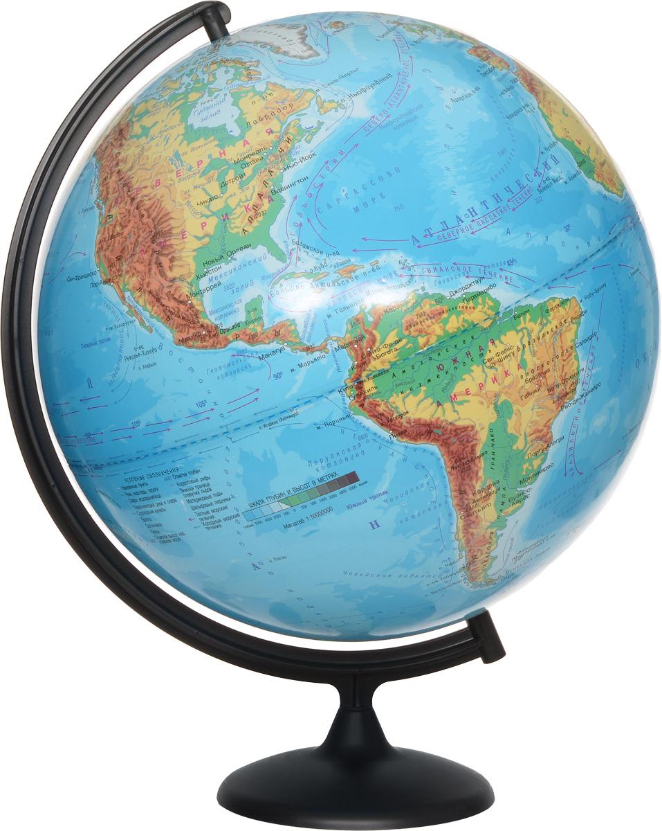 """Глобус с физической картой мира """"Глобус мира"""", изготовленный из высококачественного и прочного пластика, показывает страны мира, сухопутные и морские границы того или иного государства, расположение городов и населенных пунктов. На глобусе имеются направления, названия подводных течений и ветров. А также имеется шкала глубин и высот в метрах, отметки глубин, отметки высот над уровнем моря. С помощью данного глобуса можно получить правильное представление о форме, размерах, расположении материков, океанов, островов, морей и рек. Названия стран на глобусе приведены на русском языке. Помимо этого глобус обладает приятной цветовой гаммой. Изделие расположено на пластиковой подставке, что придает этой модели подарочный вид. Настольный глобус с физической картой """"Глобусный мир"""" станет оригинальным украшением рабочего стола или вашего кабинета. Это изысканная вещь для стильного интерьера, которая станет прекрасным подарком для современного преуспевающего человека, следующего последним..."""