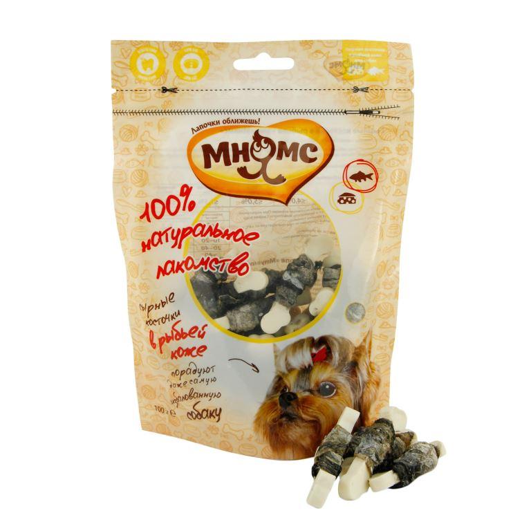 Лакомство для собак Мнямс, сырные косточки в рыбьей коже, 100 г701832Сырные косточки Мнямс - это оригинальное лакомство в ароматной рыбьей коже. Благодаря своей структуре они способствует снятию зубного камня. Вкусное и здоровое угощение идеально подходит в качестве поощрения для игр и тренировок.