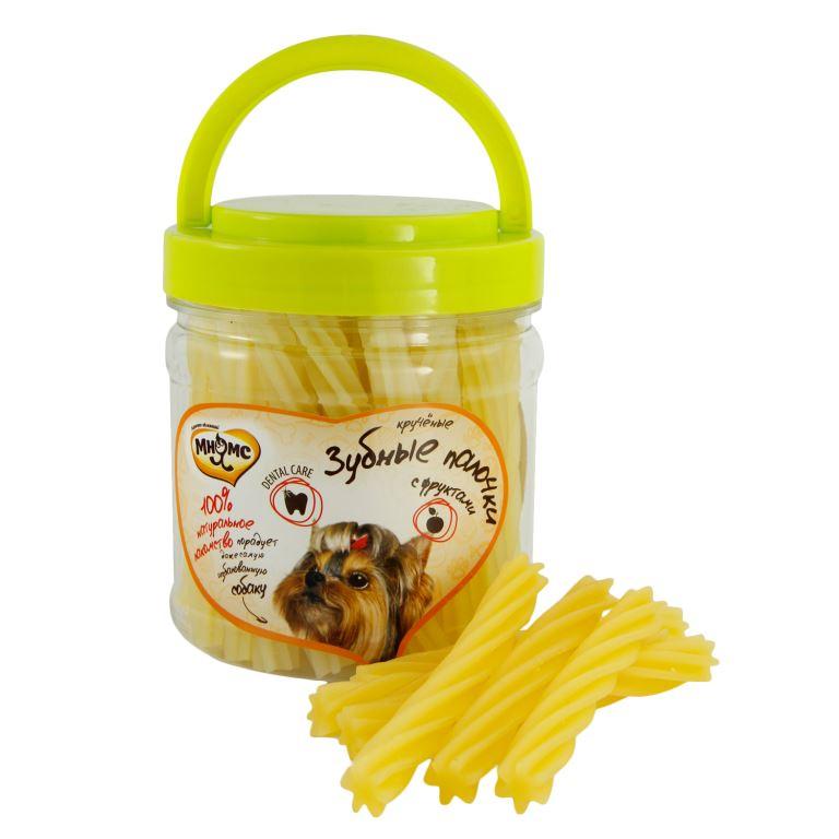 Лакомство для собак Мнямс, крученые зубные палочки с фруктами, 340 г0120710Крученые зубные палочки Мнямс - это тонкие спиральки с фруктами, аромат которых привлечет даже самого капризного любимца. Оригинальная форма и текстура помогают очистить зубы собаки от налета и защитить десны. Вкусное и здоровое угощение идеально подходит в качестве поощрения для игр и тренировок.