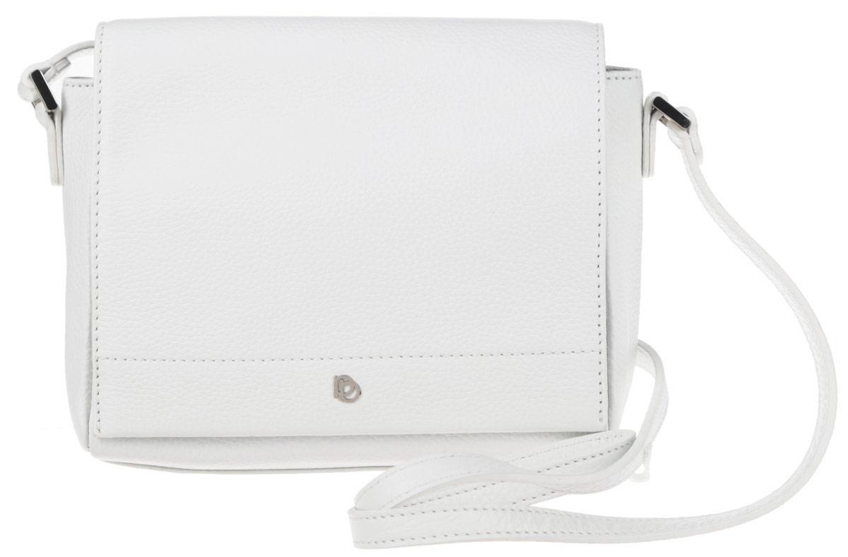 Сумка женская Pimo Betti, цвет: белый. 14592B-W1S76245Стильная женская сумка Pimo Betti выполнена из натуральной кожи с зернистой фактурой, оформлена металлической фурнитурой с символикой бренда.Изделие содержит одно вместительное отделение, закрывающееся клапаном на магнитную кнопку. Внутри сумки расположены накладной кармашек для мелочей и врезной карман на застежке-молнии. Снаружи, на задней стороне сумки, расположен накладной кармашек на магнитной кнопке. Изделие оснащено практичным плечевым ремнем регулируемой длины.Оригинальный аксессуар позволит вам завершить образ и быть неотразимой.