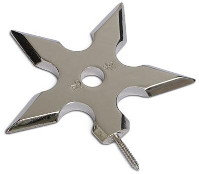 Крючок Эврика НиндзяHM-701402NGОригинальный металлический хромированный полированный крючок для одежды в виде оружия Ниндзя. Ввинчивается в стену винтовым штырем.Размеры изделия: 10 х 10 х 1 см.