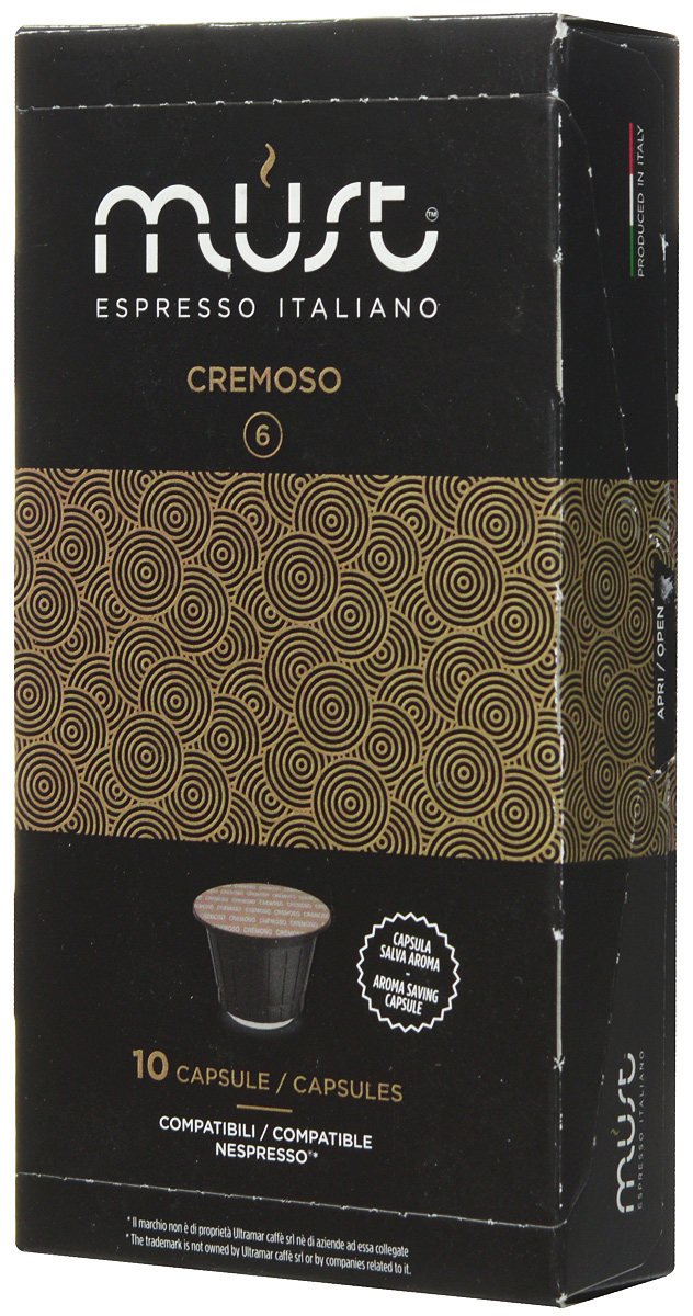 MUST Cremoso кофе капсульный, 10 шт12121894MUST Cremoso - купаж с мягким, стойким и обволакивающим ароматом. Этот кофе порадует вас и ваших близких своим многослойным вкусом со сливочными нотками, ненавязчивой горчинкой какао и ореховым ароматом. В напитке раскрываются также кисло-сладкие ноты.