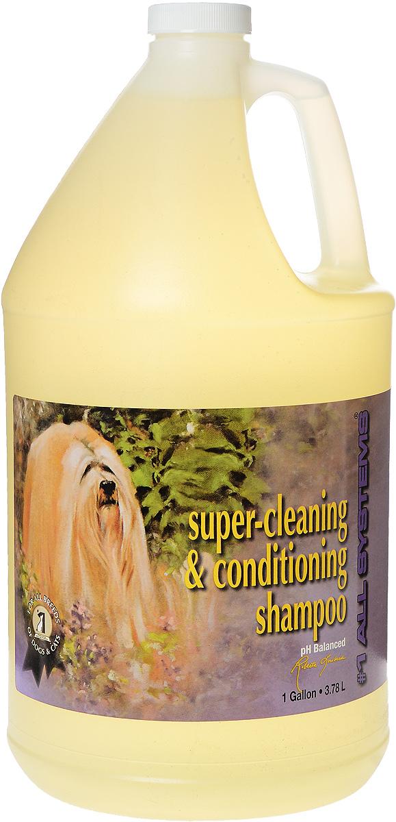 Шампунь для собак и кошек 1 All Systems Super-cleaning & Conditioning, суперочищающий, 3,78 л103Шампунь 1 All Systems Super-cleaning & Conditioning предназначен для собак и кошек. Шампунь обогащен кондиционерами, которые тщательно очищают шерсть, не изменяя ее структуру. Быстро и полностью смывается, оставляет шерсть искрящейся, без остатков грязи. Уникальная формула предотвращает образование колтунов. Благодаря безопасной и очень мягкой формуле, может использоваться ежедневно. Подходит для чувствительной кожи, щенкам, кормящим сукам и кошкам. Содержит только натуральные, безвредные ингредиенты. Не содержит алкоголь, масло или силиконовые продукты, способные повредить кожу и шерсть. Не изменяет окрас и текстуру. Способ применения. Может быть разведен в 1 или 2 частях воды перед использованием. Хорошо увлажните шерсть и нанесите нужное количество для удаления грязи и жира. Хорошо вмассируйте в шерсть. Ополосните и еще раз нанесите шампунь для полной очистки шерсти, затем нанесите подобранный для вашего питомца кондиционер.Рекомендации для кошек: идеально подходит для ухода за кошками любых пород и с любым типом шерсти, а также применяется как первый шампунь при подготовке к выставке. Состав: дистиллированная вода, аммоний лаурил сульфат, кокамидопропилбетаин, кокамид DEA, пропиллен гликоль, глицерин, ароматизатор, лимонная кислота, F.D. & C. желтый #6.