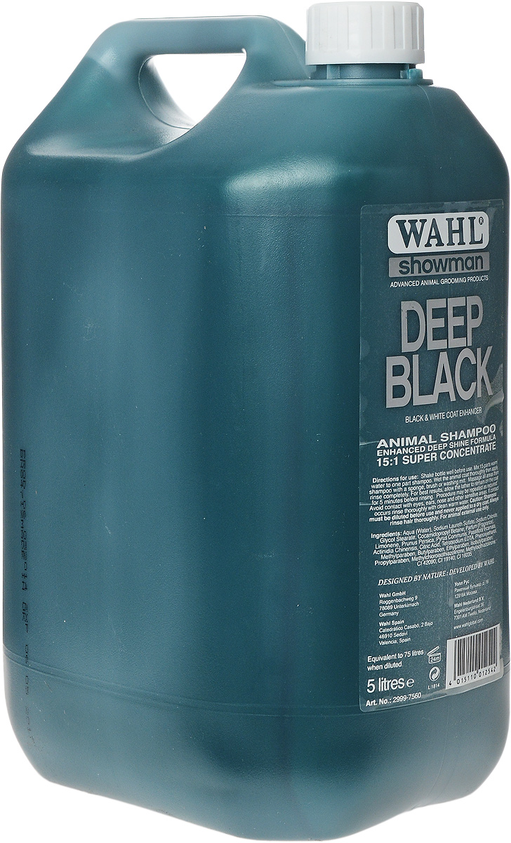Шампунь для животных темных окрасов Wahl Deep Black, концентрированный, 5 л2999-7560Шампунь для животных темных окрасов Wahl Deep Black содержит в основе только натуральные ингредиенты, экстракты персика, груши, киви, страстоцвета. Освежает и восстанавливает черную шерсть. Удаляет серый оттенок. Придает яркость окраса. Эффективно очищает, удаляет грязь и жировые отложения. Подходит для любых домашних животных.Разводится в теплой воде в пропорции 1:15. Способ применения: Тщательно встряхнуть флакон. В отдельной емкости подготовить раствор: 1 часть концентрата и 15 частей теплой проточной воды. Наносить раствор на хорошо смоченную шерсть. Тщательно вспенить массирующими движениями и затем смыть. Для лучших результатов рекомендуется оставить пену на шерсти на 5 минут, а затем смыть. Избегать попадания в глаза, нос и на другие чувствительные зоны. При попадании раствора на указанные участки промыть их теплой водой.