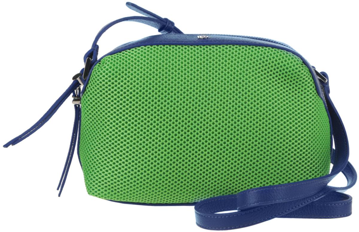 Сумка женская Pimo Betti, цвет: ярко-зеленый, синий. 14759B-W123008Яркая женская сумка Pimo Betti выполнена из текстиля и натуральной кожи с зернистой фактурой, оформлена металлической фурнитурой с символикой бренда.Изделие содержит одно вместительное отделение, закрывающееся на застежку-молнию. Внутри сумки расположены два накладных кармашка для мелочей и врезной карман на застежке-молнии. Снаружи, на задней стороне сумки, расположен врезной кармашек на застежке-молнии. Изделие оснащено удобным плечевым ремнем регулируемой длины.Оригинальный аксессуар позволит вам завершить образ и быть неотразимой.