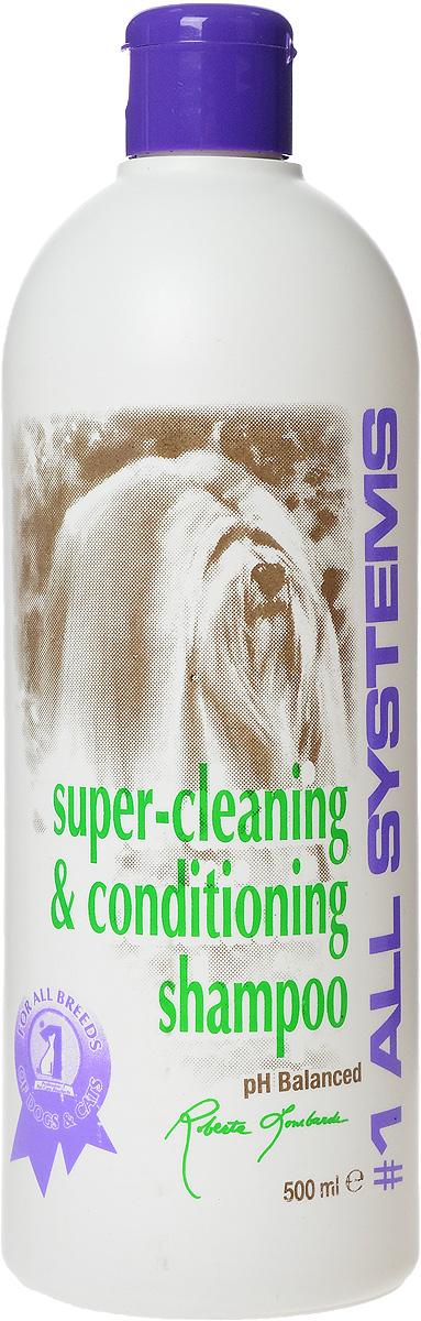 Шампунь для собак и кошек 1 All Systems Super-cleaning & Conditioning, суперочищающий, 500 мл102Шампунь 1 All Systems Super-cleaning & Conditioning предназначен для собак и кошек. Шампунь обогащен кондиционерами, которые тщательно очищают шерсть, не изменяя ее структуру. Быстро и полностью смывается, оставляет шерсть искрящейся, без остатков грязи. Уникальная формула предотвращает образование колтунов. Благодаря безопасной и очень мягкой формуле, может использоваться ежедневно. Подходит для чувствительной кожи, щенкам, кормящим сукам и кошкам. Содержит только натуральные, безвредные ингредиенты. Не содержит алкоголь, масло или силиконовые продукты, способные повредить кожу и шерсть. Не изменяет окрас и текстуру. Способ применения. Может быть разведен в 1 или 2 частях воды перед использованием. Хорошо увлажните шерсть и нанесите нужное количество для удаления грязи и жира. Хорошо вмассируйте в шерсть. Ополосните и еще раз нанесите шампунь для полной очистки шерсти, затем нанесите подобранный для вашего питомца кондиционер.Рекомендации для кошек: идеально подходит для ухода за кошками любых пород и с любым типом шерсти, а также применяется как первый шампунь при подготовке к выставке. Состав: дистиллированная вода, аммоний лаурил сульфат, кокамидопропилбетаин, кокамид DEA, пропиллен гликоль, глицерин, ароматизатор, лимонная кислота, F.D. & C. желтый #6.