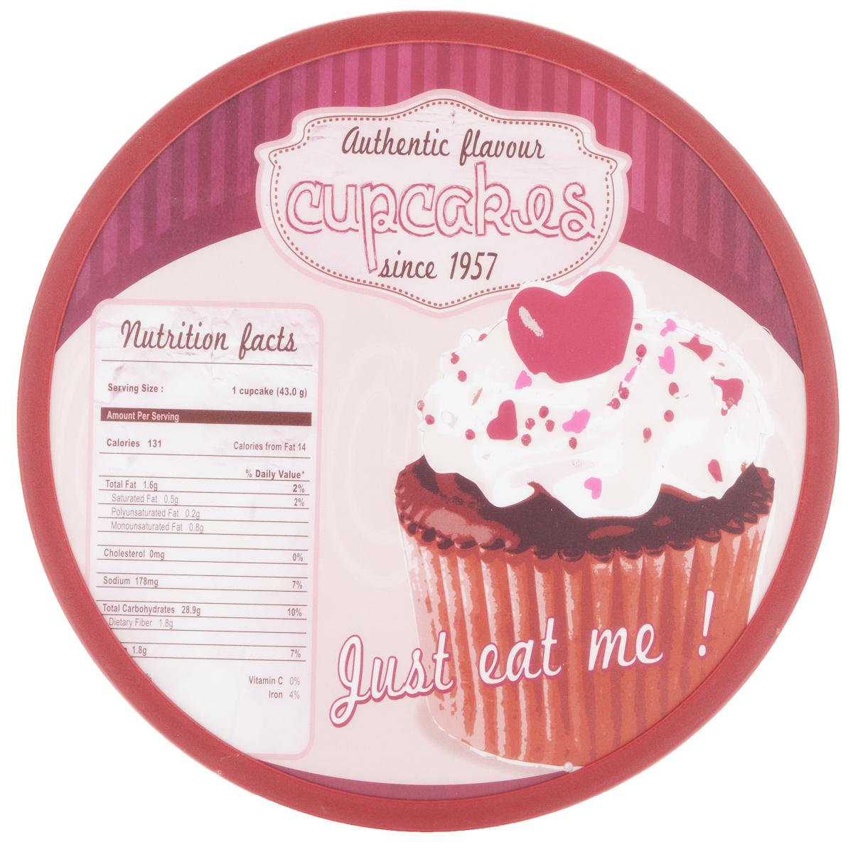 Доска разделочная Mayer & Boch Cupcakes, вращающаяся, диаметр 30 см115510Вращающаяся разделочная доска Mayer & Boch Cupcakes, выполненная из высококачественного пластика и дерева, станет незаменимым аксессуаром на вашей кухне. Доска декорирована красочными рисунками и надписями. Антибактериальное покрытие защищает от плесени, грибков и неприятных запахов.Изделие предназначено для измельчения продуктов. Доска вращается на 360°, что делает ее еще и отличным аксессуаром для сервировки пищи. Такая доска прекрасно впишется в интерьер любой кухни и прослужит вам долгие годы. Диаметр доски: 30 см. Диаметр основания: 18 см. Высота: 4 см.