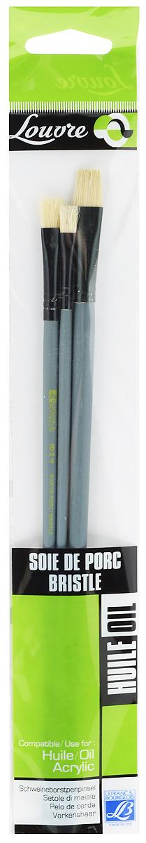 Набор кистей LeFranc Louvre, 3 шт. LF806738731001Кисти из набора LeFranc Louvre идеально подойдут для работы с акриловыми красками и прочими искусственными эмульсиями, а так же с темперой, гуашью, акварелью и масляными красками. В набор входят кисти № 4, 8 и 12. Кисти изготовлены из щетины. Конусообразная форма пучка позволяет прорисовывать мелкие детали и выполнять заливку фона.Пластиковые ручки оснащены алюминиевыми втулками с двойным обжимом.Длина кистей: № 4 - 28,5 см, № 8 - 29 см, № 12- 30 см.Длина ворса: № 4 - 1,2 см, № 8 - 1,5 см, № 12 - 1,7 см.