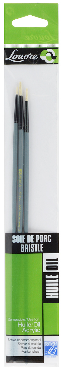 Набор кистей LeFranc Louvre, 3 шт. LF806739711008Кисти из набора LeFranc Louvre идеально подойдут для работы с акриловыми красками и прочими искусственными эмульсиями, а так же с темперой, гуашью, акварелью и масляными красками. В набор входят круглые кисти № 2, 6 и 10. Кисти изготовлены из щетины. Конусообразная форма пучка позволяет прорисовывать мелкие детали и выполнять заливку фона.Деревянные ручки оснащены алюминиевыми втулками с двойным обжимом.Длина кистей: № 2 - 27,5 см, № 6 - 28 см, № 10 - 28,5 см.Длина ворса: № 2 - 0,8 см, № 6 - 1,3 см, № 10 - 1,5 см.