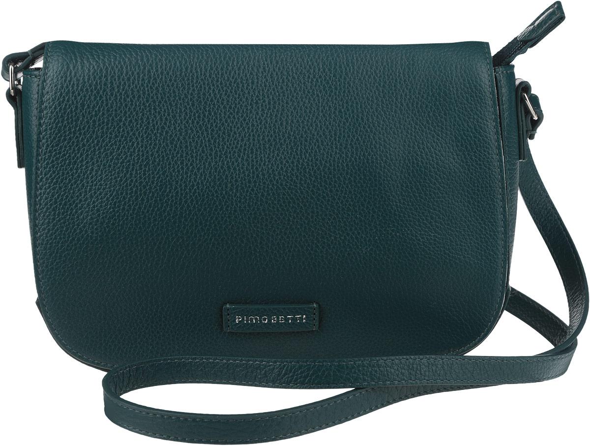 Сумка женская Pimo Betti, цвет: темно-зеленый. 13833B-W13-47660-00504Стильная женская сумка Pimo Betti выполнена из натуральной кожи с зернистой фактурой, оформлена символикой бренда.Изделие содержит одно вместительное отделение, закрывающееся на застежку-молнию и дополнительно клапаном с магнитной кнопкой. Внутри сумки расположены два накладных кармашка для мелочей и врезной карман на застежке-молнии. Снаружи, на задней стороне сумки, расположен врезной кармашек на застежке-молнии. Изделие оснащено практичным плечевым ремнем регулируемой длины.Оригинальный аксессуар позволит вам завершить образ и быть неотразимой.