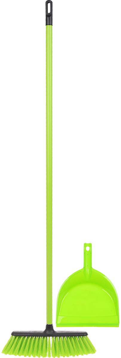 Набор для уборки Centi Tandem, цвет: салатовый, черный, 2 предмета531-105Набор Centi Tandem состоит из совка и щетки-метелки, изготовленных из высококачественного пластика и сложных полимеров. Вместительный совок удерживает собранный мусор и позволяет эффективно и быстро совершать уборку в любом помещении. Сглаженный край совка обеспечивает наиболее плотное прилегание к полу. Щетка-метелка имеет удобную форму, позволяющую вымести мусор даже из труднодоступных мест. Все предметы набора оснащены ручками с отверстиями для подвешивания. С набором Centi Tandem уборка станет легче и приятнее.Общая длина щетки-метелки: 117 см.Длина ворса щетки-метелки: 7 см.Длина совка: 32 см.Размер рабочей части совка: 21 х 16 х 6 см.